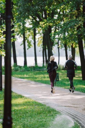 back view of mature sportsman and sportswoman jogging on pavement in park