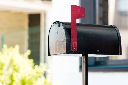 Photo pour Foyer sélectif de boîte aux lettres en métal noir près des buissons verts avant la maison - image libre de droit