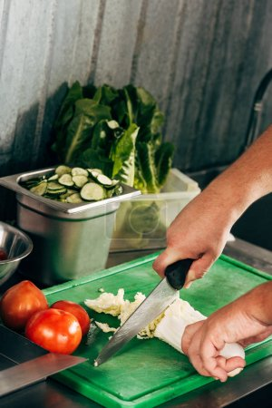 Photo for Partial view of cook cutting lettuce on cutting board - Royalty Free Image
