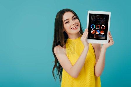 hermosa chica en vestido amarillo mostrando tableta digital con aplicación financiera aislada en turquesa