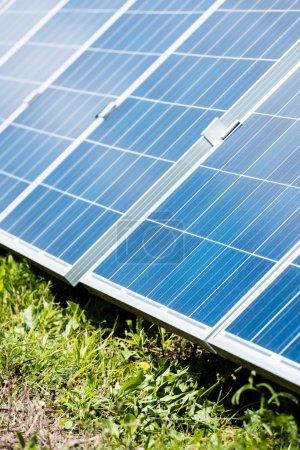 Photo pour L'herbe verte et les batteries bleues d'énergie solaire avec l'espace de copie - image libre de droit