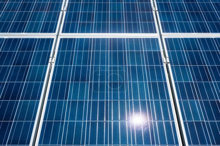 Photo for Blue solar energy batteries with copy space outside - Royalty Free Image