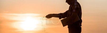 Photo pour Coup panoramique de fermier semant des graines pendant le coucher du soleil - image libre de droit