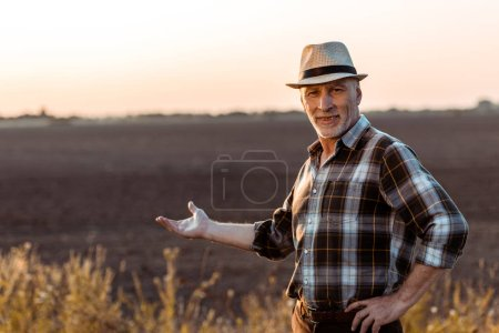 selective focus of cheerful self-employed farmer in straw hat gesturing near wheat field