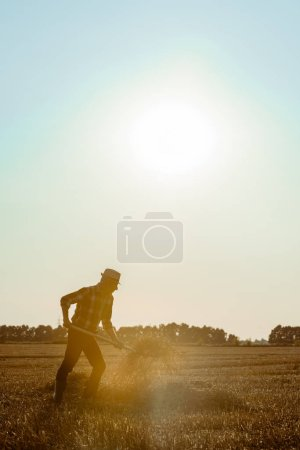 Photo for Side view of senior man in straw hat holding rake with hay in wheat field - Royalty Free Image