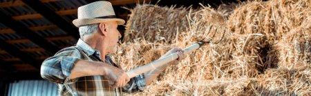Foto de Disparo panorámico de hombre mayor que sostiene rastrillo cerca del heno - Imagen libre de derechos