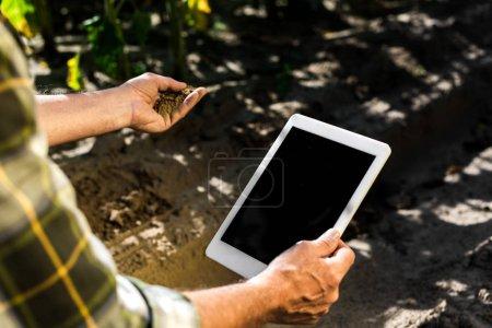 Foto de Vista recortada de un agricultor autónomo senior que sostiene una tableta digital con pantalla en blanco - Imagen libre de derechos