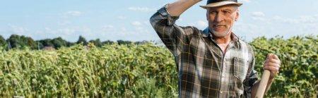 Photo pour Tir panoramique de l'homme indépendant gai retenant le support près du champ vert - image libre de droit