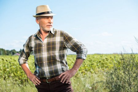senior farmer in straw hat standing with hands on hips in field