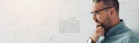 Photo pour Plan panoramique d'homme d'affaires coûteux en chemise et lunettes détournant les yeux - image libre de droit