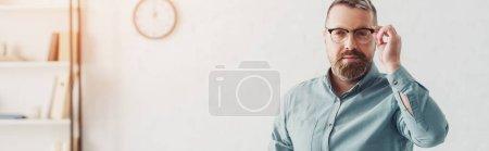 Foto de Foto panorámica de hombre de negocios guapo en camisa y gafas mirando a la cámara - Imagen libre de derechos