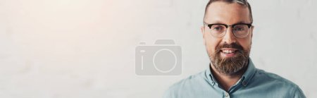 Photo for Panoramic shot of handsome businessman in shirt and glasses looking at camera - Royalty Free Image