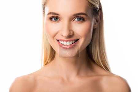 naked smiling blonde woman with white teeth isolated on white