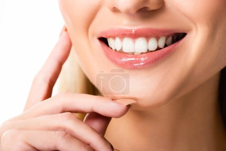 Photo for Cropped view of smiling woman with white teeth isolated on white - Royalty Free Image