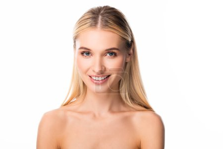 smiling blonde woman with white teeth isolated on white
