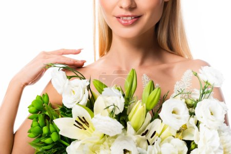 Photo for Cropped view of blonde naked woman with flowers isolated on white - Royalty Free Image