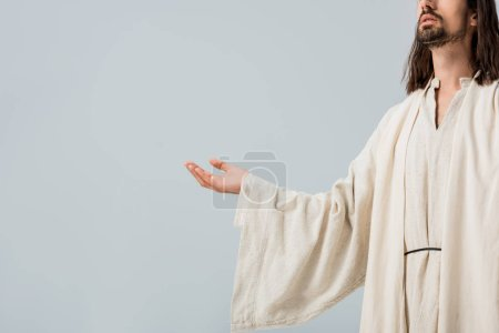 Photo for Cropped view of jesus with outstretched hand isolated on grey - Royalty Free Image