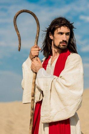 Photo pour Homme barbu tenant la canne en bois contre le ciel bleu dans le désert - image libre de droit