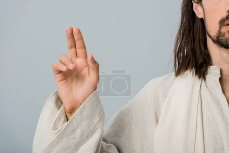 Photo for Cropped view of religious man gesturing isolated on grey - Royalty Free Image