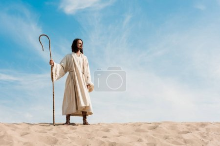 handsome man holding wooden cane against blue sky in desert