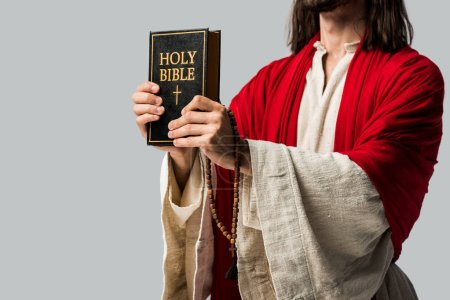 cropped view of holding holy bible isolated on grey