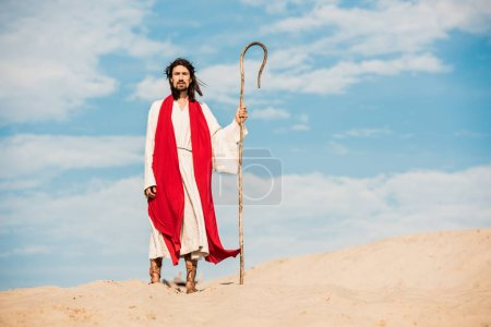 Photo for Bearded and handsome man walking with wooden cane in desert - Royalty Free Image