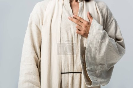 Photo for Cropped view of man with hand on chest standing isolated on grey - Royalty Free Image