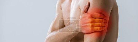 Photo pour Coup panoramique du sportif torse nu avec douleur au bras isolé sur gris - image libre de droit