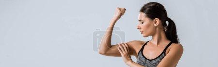 Photo pour Plan panoramique d'attrayant sportif touchant muscle isolé sur gris - image libre de droit