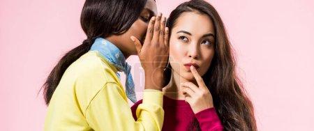 Photo pour Photo panoramique d'une Africaine d'Amérique racontant le secret à son amie asiatique isolée sur le rose - image libre de droit