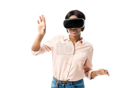 african american woman in shirt with virtual reality headset isolated on white