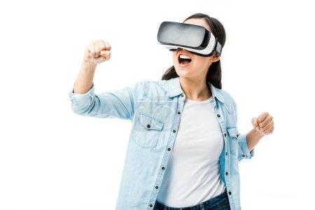 Photo pour Femme en chemise en denim avec casque d'écoute en réalité virtuelle montrant oui geste isolé sur blanc - image libre de droit
