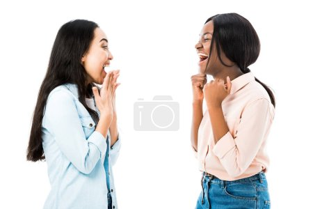 Photo for Smiling asian and african american friends showing yes gesture isolated on white - Royalty Free Image