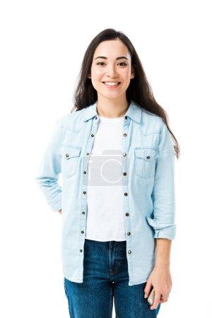 Photo pour Attrayant et souriant asiatique femme en denim chemise regarder caméra isolé sur blanc - image libre de droit