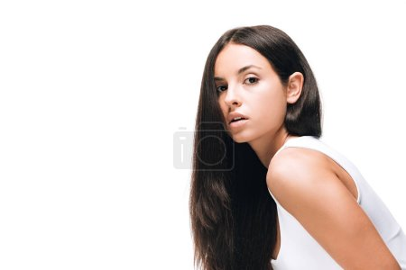 Photo for Brunette beautiful woman with long straight healthy and shiny hair isolated on white - Royalty Free Image