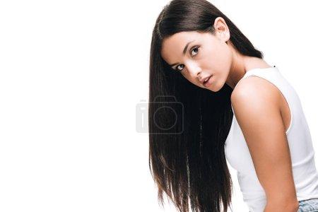 Photo pour Belle femme brune avec le long cheveu sain et brillant droit d'isolement sur le blanc - image libre de droit