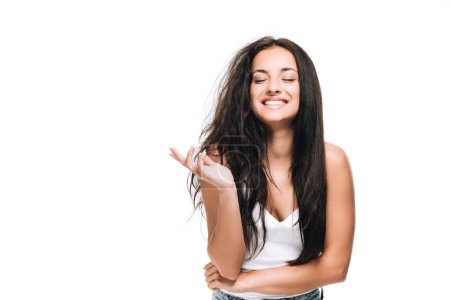 Photo for Smiling brunette beautiful woman with straight and curly hair isolated on white - Royalty Free Image