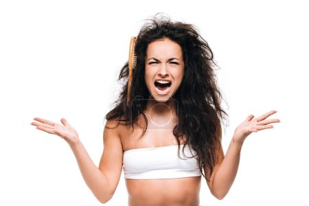 Photo for Stressed brunette woman with comb in unruly curly hair screaming isolated on white - Royalty Free Image