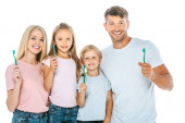 "Постер, картина, фотообои ""happy parents and kids holding toothbrushes isolated on white"""
