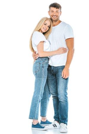 Photo pour Homme et femme heureux embrasser et regarder la caméra sur blanc - image libre de droit