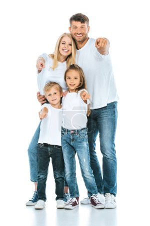 happy family pointing with fingers and smiling on white