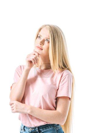 Photo pour Pensive woman touching face isolated on white - image libre de droit