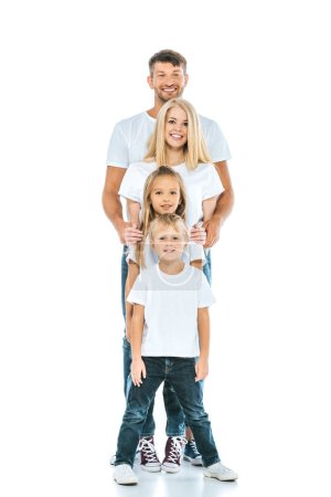 Photo for Adorable children and happy parents looking at camera on white - Royalty Free Image