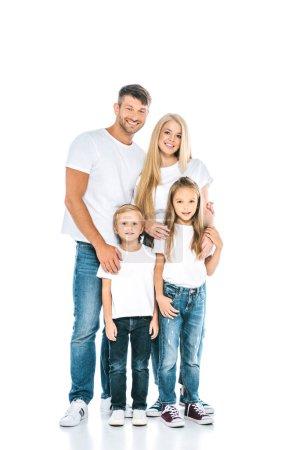Photo pour Adorables enfants debout avec des parents heureux et regardant la caméra sur blanc - image libre de droit