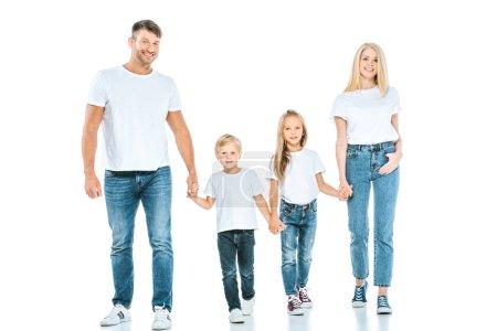Photo pour Des parents souriants tenant la main d'enfants joyeux sur blanc - image libre de droit
