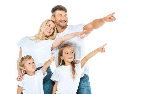 Foto de Familia alegre señalando con los dedos aislados sobre blanco - Imagen libre de derechos