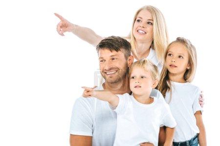 Photo pour Famille positive pointage avec doigts isolés sur blanc - image libre de droit