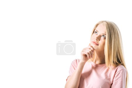 Photo for Dreamy woman touching face while thinking isolated on white - Royalty Free Image