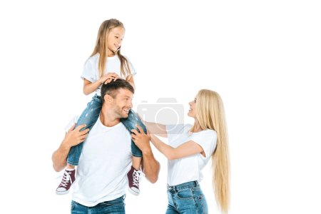 happy mother near husband holding daughter on shoulders isolated on white