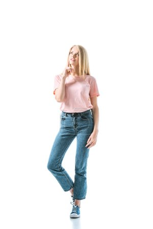 Photo for Dreamy woman in blue denim jeans standing on white - Royalty Free Image